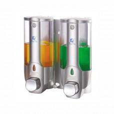 Xinda Shampoo Dispenser, Liquid Soap Dispenser, Silver, 2 Compartments